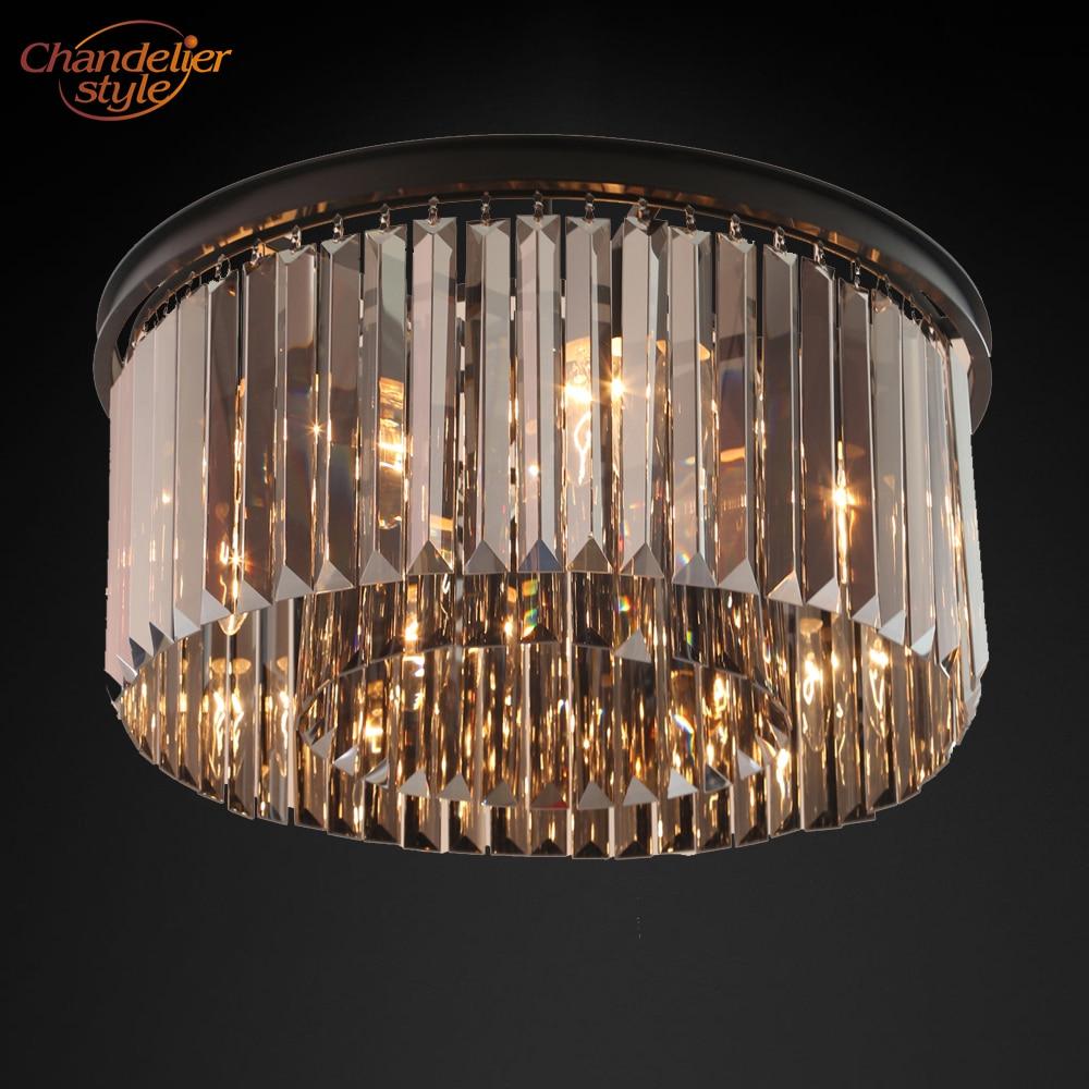 modern vintage crystal prism chandelier lighting flush mount chandeliers light fixture for home hotel restaurant decoration