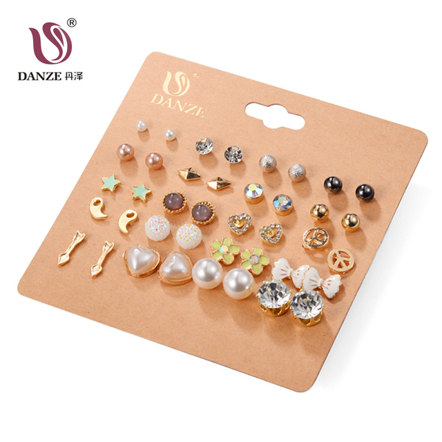 DANZE 20 Pairs/lot Punk Charm Stud Earrings Set For Women Elegant Cross Heart Crystal Flower Bow metal Ball Pendientes Oorbellen