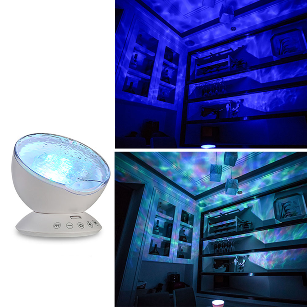 Baby Led Night Light Ocean Waves Starry Sky Projector With Remote Control Novelty Lamp For Kids CLH 7colors led night light starry sky remote control ocean wave projector with mini music novelty baby lamp led night lamp for kids