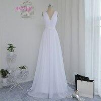 Vestido De Noiva 2016 Beach Wedding Dresses A Line Deep V Neck Appliques Lace Vintage Wedding