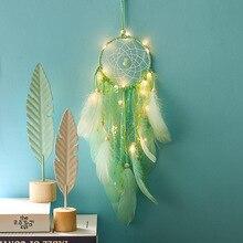 купить 1Pcs Dream Catcher Feather Girl Style Handmade Dreamcatcher with String Light Innovative Home Bedside Wall Hanging Decoration дешево