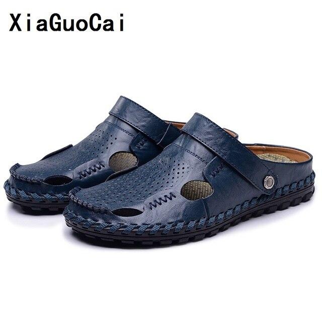 Xiaguocai Для мужчин Босоножки, шлепанцы Пояса из натуральной кожи теплые мужские летние Обувь открытый Повседневные кожаные босоножки Hombre Для мужчин Обувь, сандалии