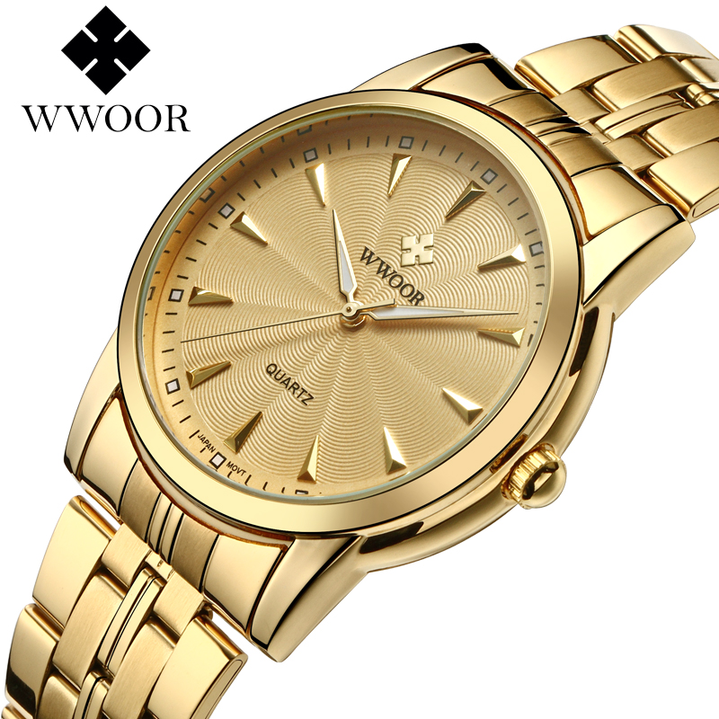WWOOR relogio masculino Top Brand Luxury Men Waterproof Stainless Steel Casual Gold Watch Men's Quartz Clock Male Sports Watches ybotti luxury brand men stainless steel gold watch men s quartz clock man sports fashion dress wrist watches relogio masculino