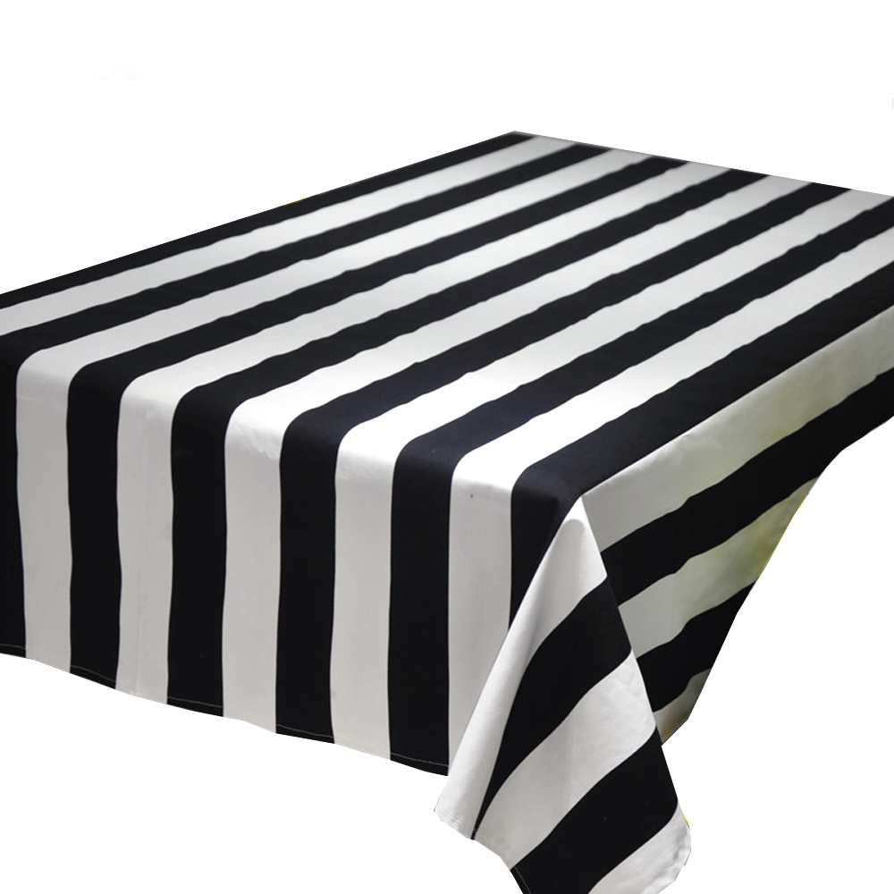 Rectangular Table Cloth Geometric Wave Black And White