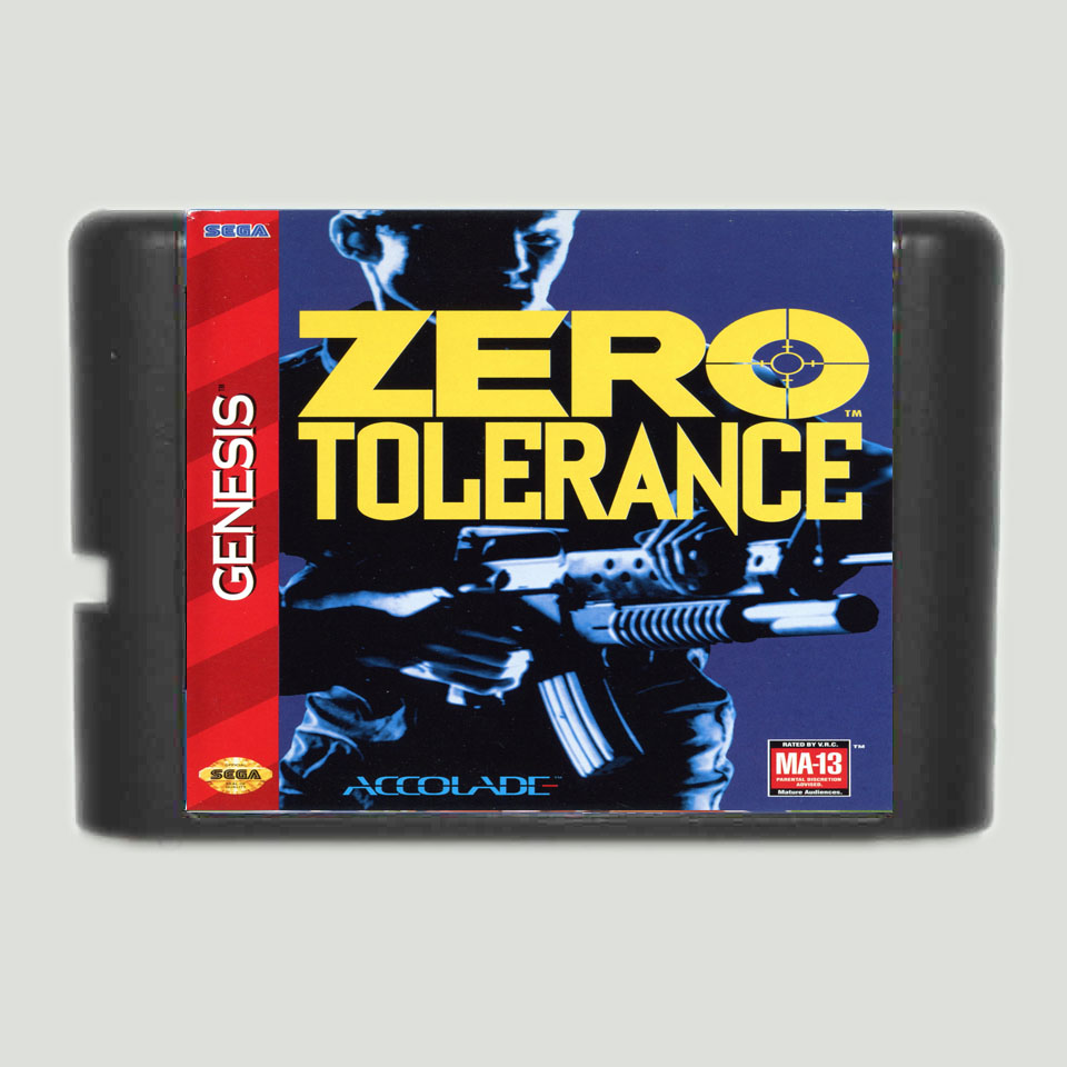 Zero Tolerance 16 bit MD Game Card For Sega Mega Drive For Genesis