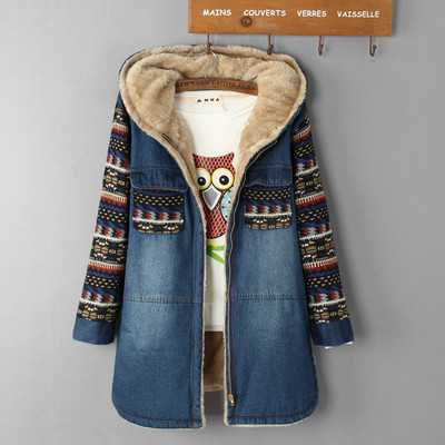 font b Women b font Parkas Hooded Lambswool Thicken Denim Jackets Fashion Ladies Knitted Sleeve