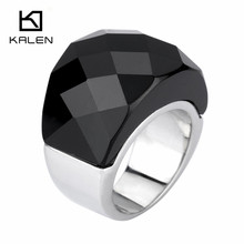 High Quality Kalen Jewelry Rings Size6 7 8 9 Black & White Glass Couples Rings 17mm Stainless Steel Anime Rings for Man/Women