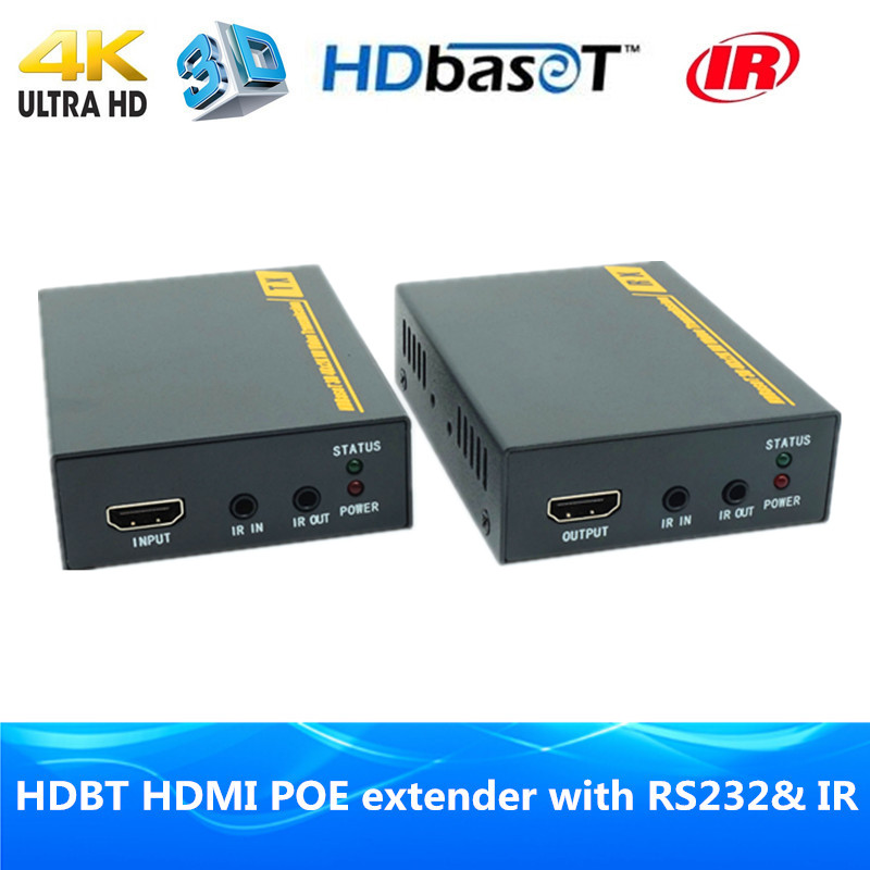 High quality 4K 3D HDBaseT POE extender 70m HDMI1.4v HDBT extender over Ethernet RJ45 cat6 cable with Bidirectional IR & RS232 wireless hdmi 2 0 hdbt kvm extender ethernet transmitter receiver 100m over cat6 support 4k 2k 3d poe hdcp 2 2 rs232 hd baset
