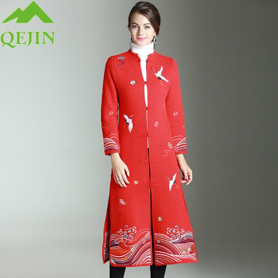 Tranchée Brown Femelle Cachemire D'hiver Long Ouvrir Manteaux Reddish Laine Pardessus Slim Manteau Survêtement Femmes Broderie De Mélange Point FTSqwwWv