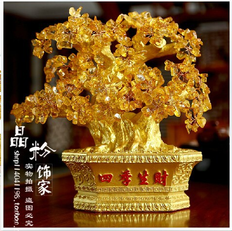 Bonsaï naturel tissé à la main, arbre porte-bonheur. cristal de quartz citrine A1