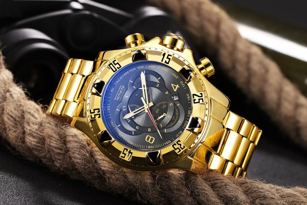 19 Top Brand Luxury Mens Oversize Watch Gold Business Steel Quartz Clock Waterproof Sport Military Chronograph Male Wristwatch 18
