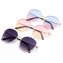 Fashion Gradient Tone Sunglasses Two-Color Lens Unisex Luxury Alloy Retro Metal Glasses Polygon Transparent Multicolo