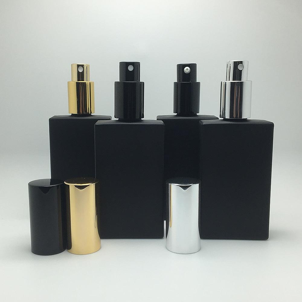 10pcs/lot Matt Black 50ml Glass Perfume Botte With Gold/Silver/Black Sprayer Atomizer Cover Empty Lotion/Emulsion Sub Bottling