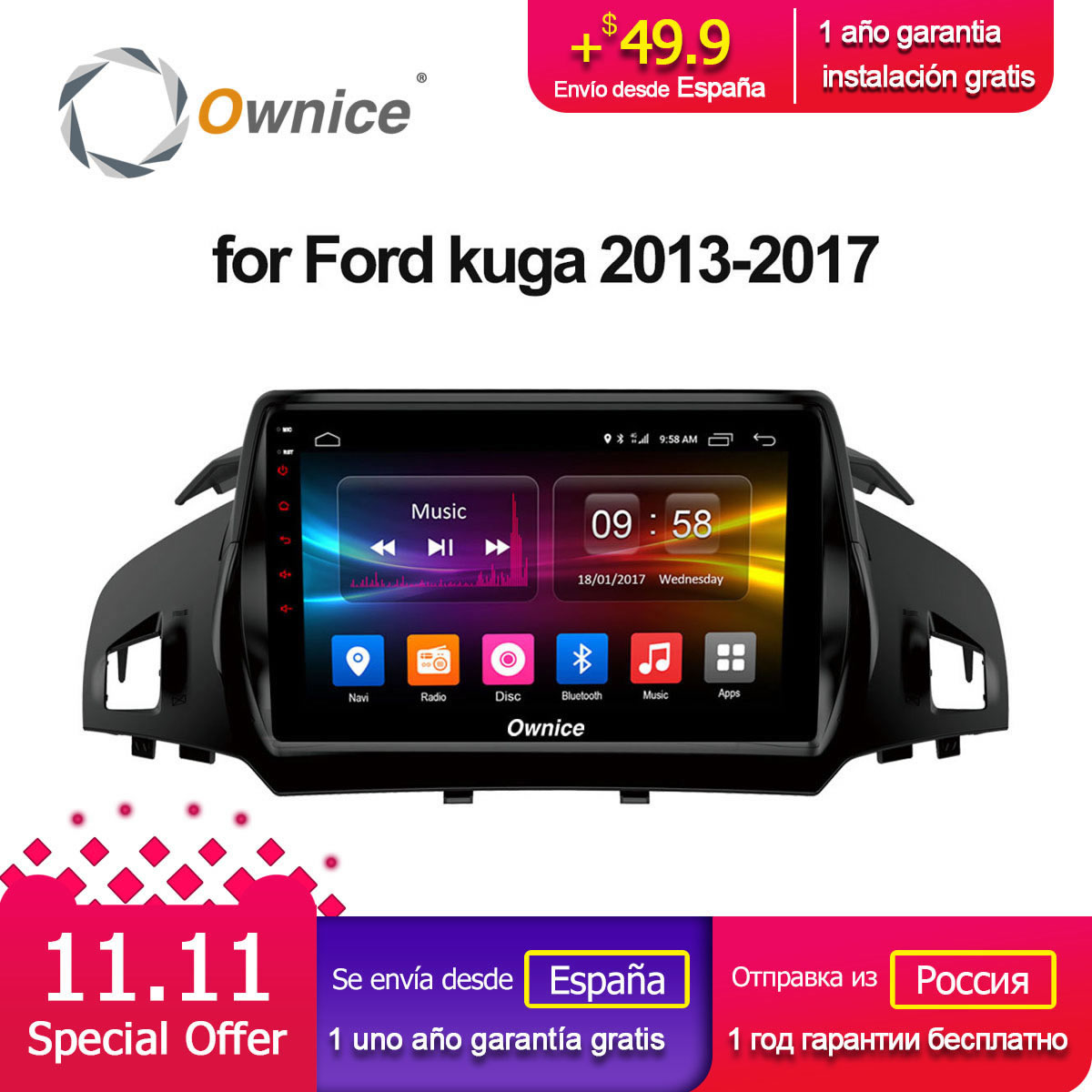 Ownice C500+ G10 Android 8.1 Octa Core CAR Radio dvd player FOR FORD KUGA 2013 2014 2015 2016 2017 GPS 4G LTE 2GB+32GB carplay ownice c500 octa core 10 1 android gps car radio multimedia player 2g 32g for skoda octavia 2014 2015 2016 2017 dvd 4g lte pc