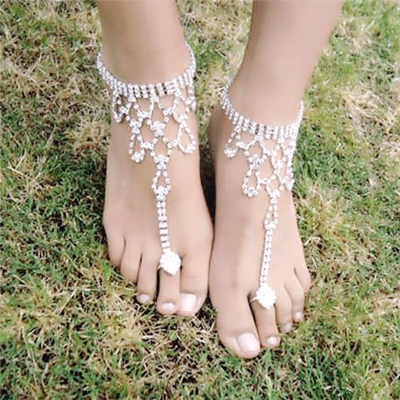Pinksee 1 Pc Bridal Crystal Beach Barefoot Sandals Foot