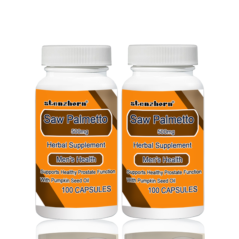 Saw Palmetto  500mg 100pcs X 2 Bottles   Total 200PCS Supports Healthy Prostate Function With Pumpkin Seed Oil
