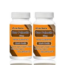 Seghe Palmetto 500 mg 100 pcs X 2 Bottiglie 200 PCS Totale Supporta Sano Funzione Della Prostata Con Olio di Semi di Zucca