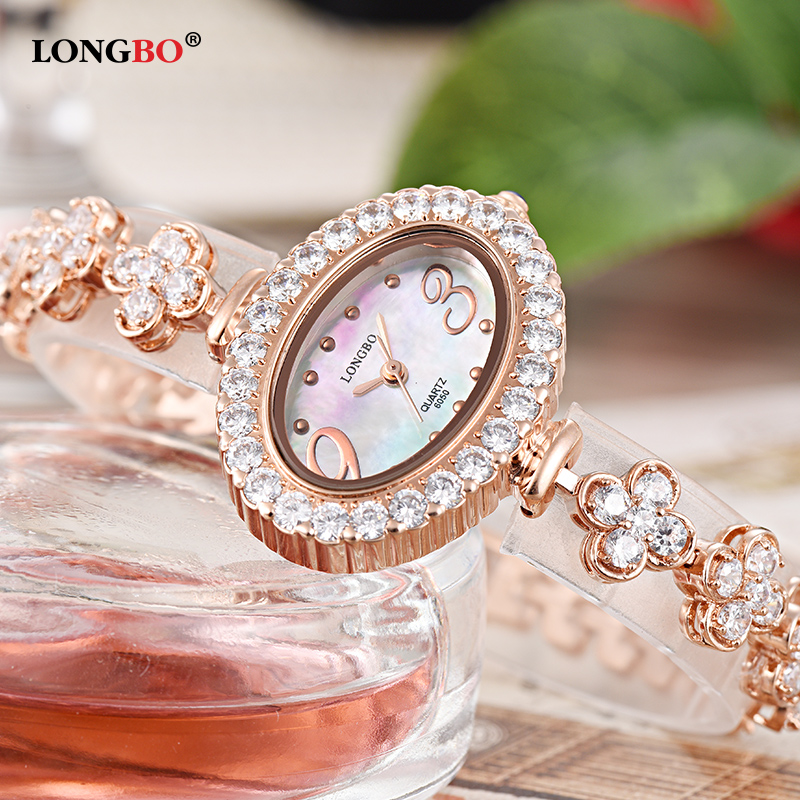 Women Quartz Watch Waterproof Watches Luxury Brand LONGBO Oval Dial Dress Wristwatches Clock For Ladies relogio feminino luxury brand new silver watch women fashion quartz wristwatches butterfly rose dial watches women dress quartz watch clock