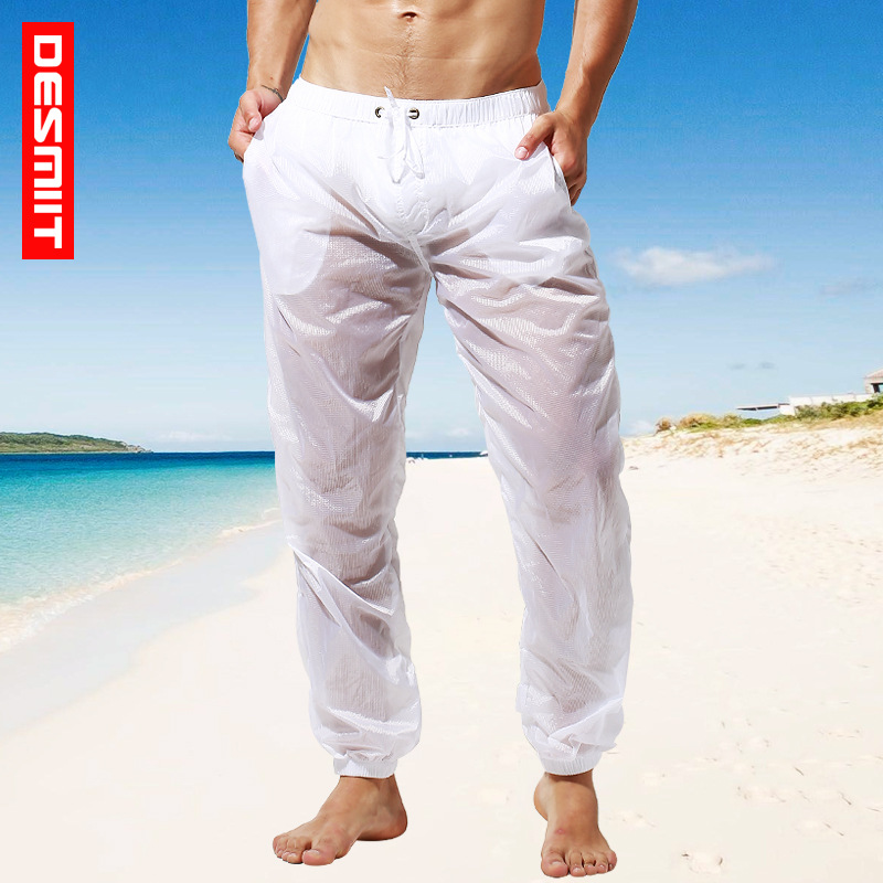2019 New trousers Men's sexy   board     shorts   pants quick dry solid transparent swimsuit   board     shorts   hawaiian joggers mesh