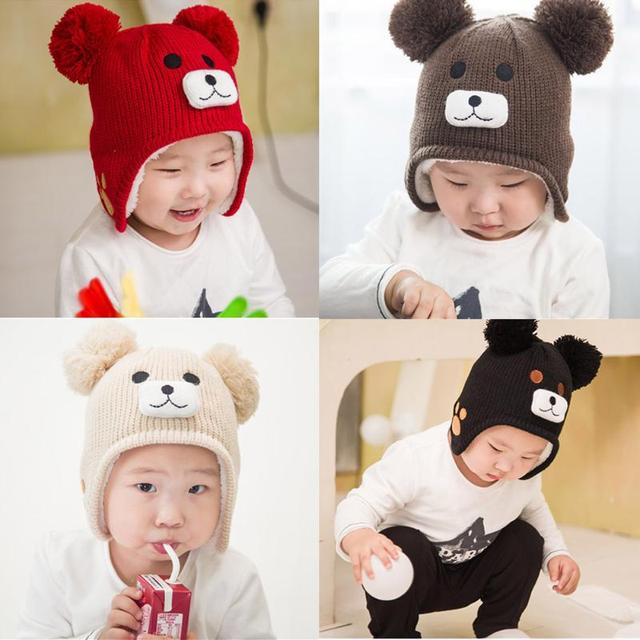 1217705f292 Winter baby caps New Baby Girls Hat Cartoon Bear Kids Winter Hat Children  Warm Knitted Cap hats for girls for newborns-in Hats   Caps from Mother    Kids on ...