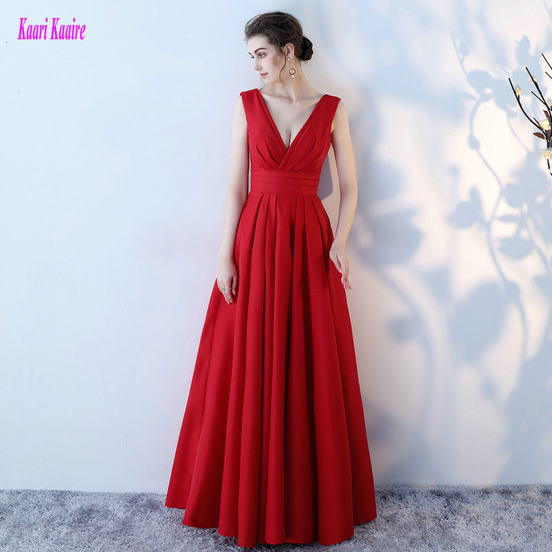 Simple Style Crimson Party Evening Dresses 2017 Sexy Evening Gowns Long V Neck Satin Lace Up