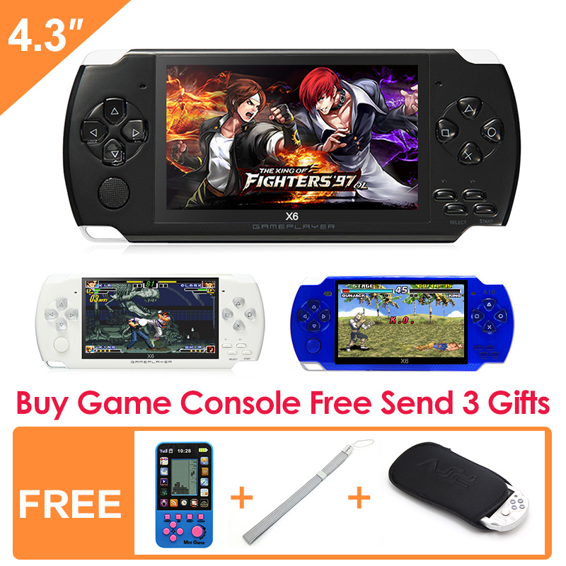Free Shipping 4.3 inch Handheld Game Console 8Gb With Mp4 Mp5 Function Video Game Built In 1200+real no-repeat for gba/gbc/f