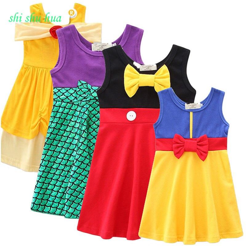 Vestido de la ropa del bebé sin mangas de la fiesta de cumpleaños princesa vestido niña vestidos de moda de verano 1-7year edad ropa Venta caliente