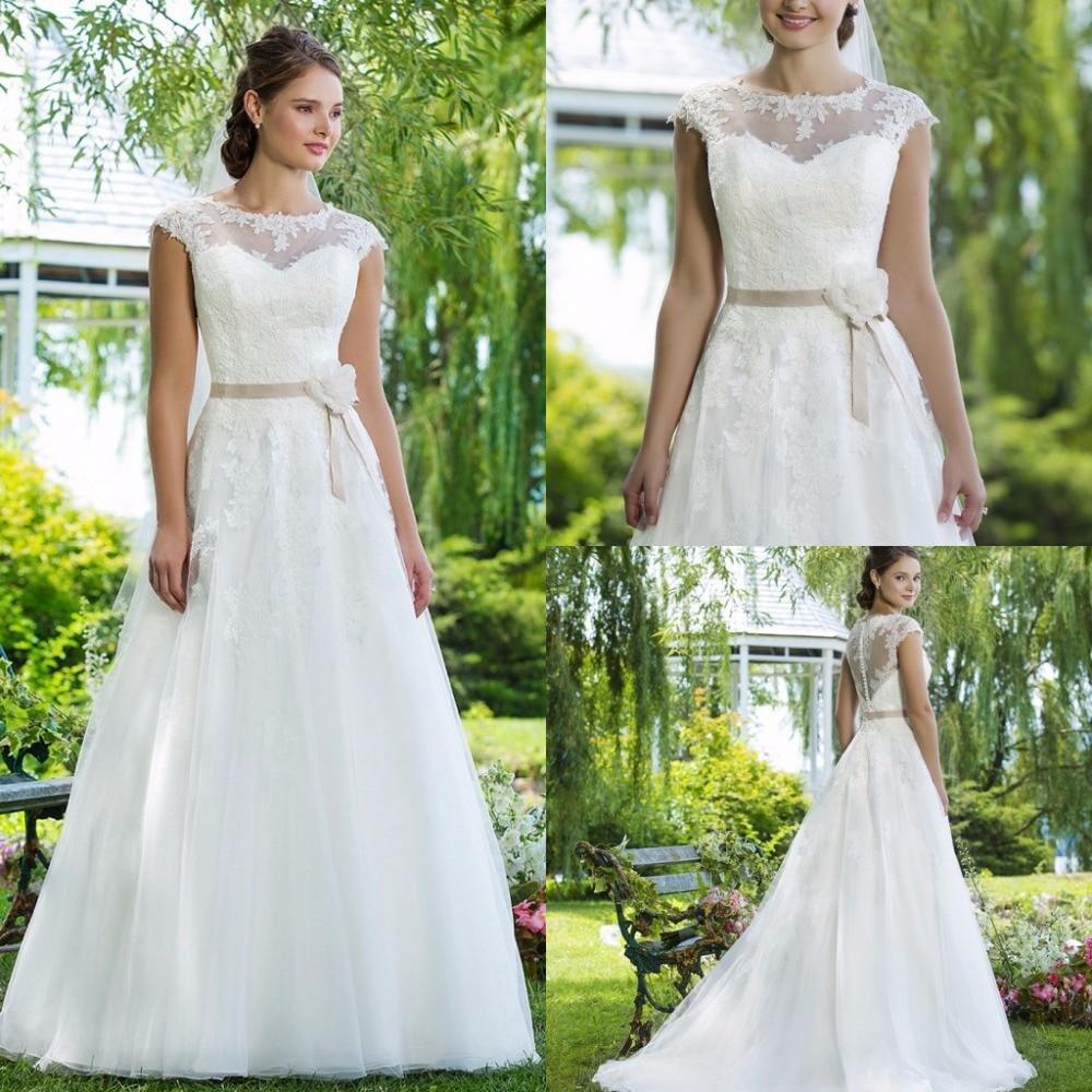 Garden Wedding Gowns: Romantic A Line Garden Lace Wedding Dresses 2016 Summer