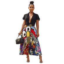 2019 new women printing vintage cartoon sexy high waist mid-calf length pleated dresses active wear casual dress 3 color