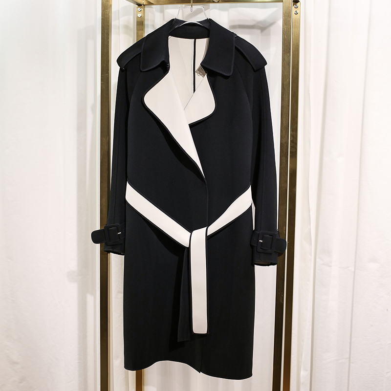 HIGH QUALITY Newest 2018 Fall Winter Runway Designer   Trench   Women's Color Block Brief   Trench   Outer Coat
