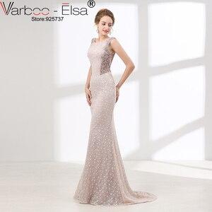 Image 4 - VARBOO_ELSA Luxury Crystal Beading Evening Dress Sexy Back Transparent Long Mermaid Prom Dress Beige Lace vestido de festa 2018