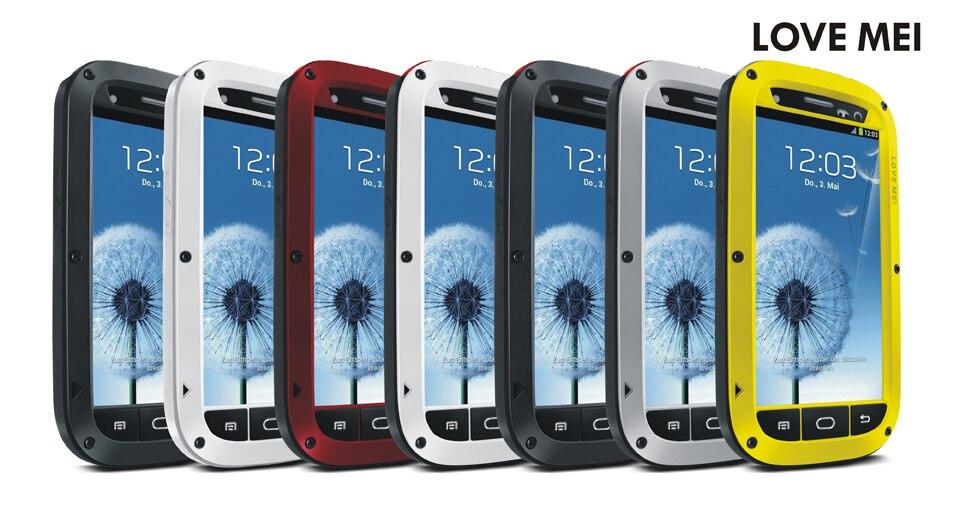 imágenes para Amor de la Original Mei Potente Case Para Samsung GALAXY S3 I9300 Cubierta de la Caja a prueba de Choques Impermeable De Aluminio + Vidrio Templado