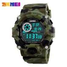 Hombres Deportes Digitales Relojes S-shock Reloj SKMEI Los Hombres de Camuflaje Del Ejército Militar Multifuncionales de Pulsera relogio masculino