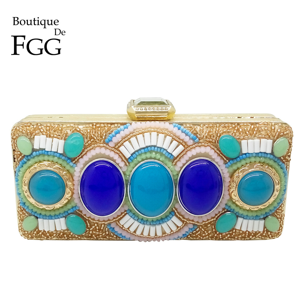 ФОТО India National Style Large Stone Beaded Crystal Women Evening Clutch Bags Gold Plated Wedding Party Shoulder Handbags Clutches