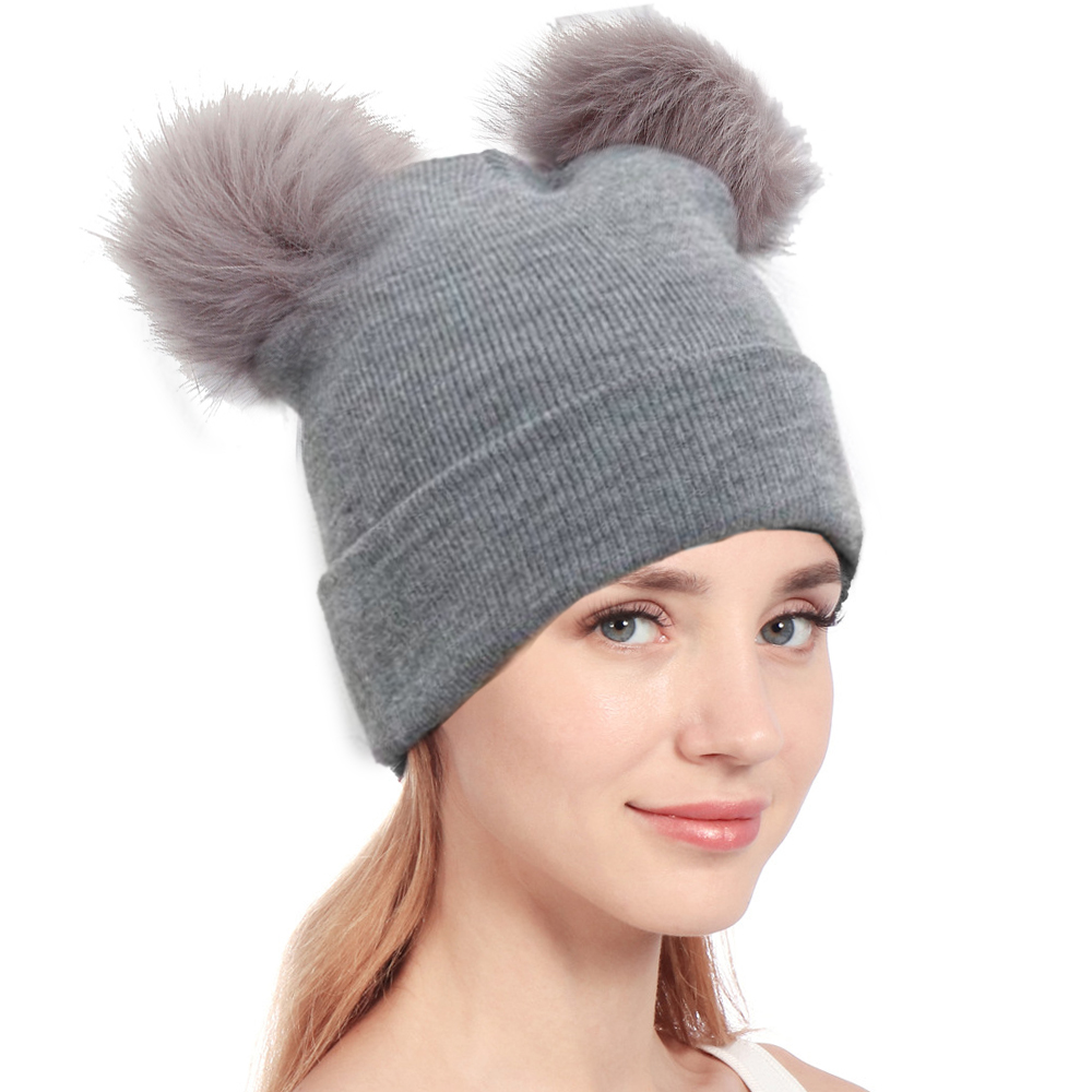 5947a75b63c 2018 Autumn New Women Faux Fur Pompom Hat Female Winter Warm Cap ...