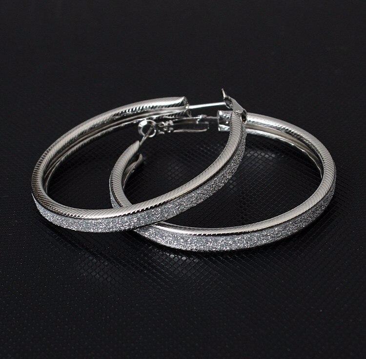 Простые модные геометрические большие круглые серьги золотого цвета с серебряным покрытием для женщин, модные большие полые висячие серьги, ювелирные изделия - Окраска металла: e047Silver