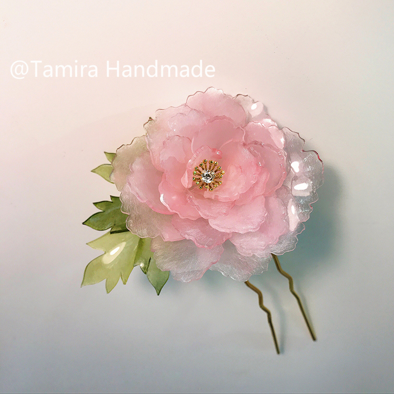 Multipetal tender pink peony hairpin Handmade hairpin  shrink dink jewery CA31 спальник campland tender 250