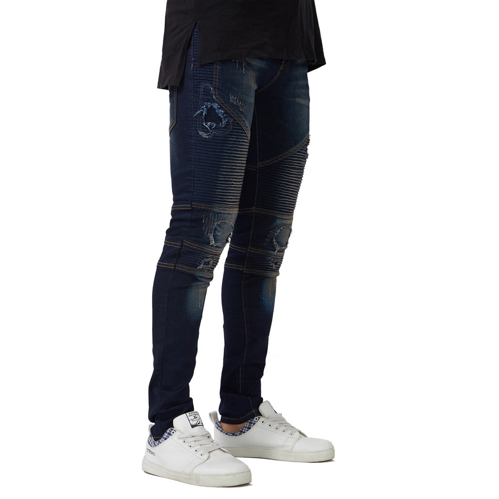 2018 New Men's Motorcycle Biker Jeans Stretch Ripped Destroyed Pencil Jeans
