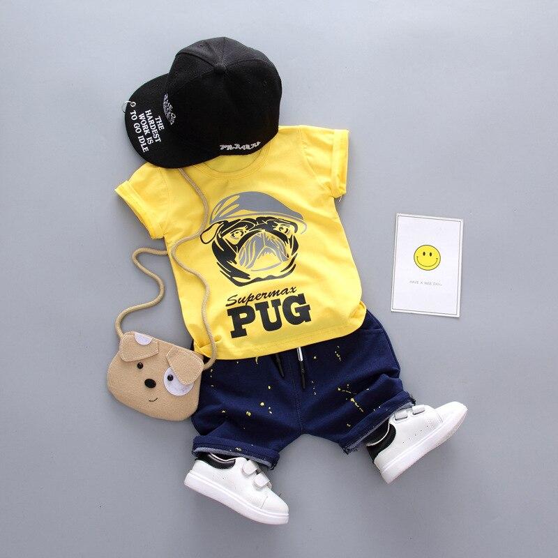 Одежда для маленьких мальчиков летние комплекты ctoon мультфильм Мопс футболка с коротки ...
