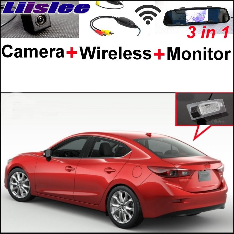 Liislee 3 in1 Special Rear View Camera + Wireless Receiver + Mirror Monitor Parking System For Mazda 3 Mazda3 Sedan 2013~2017 liislee 3 in1 special rear view camera wireless receiver mirror monitor diy parking system for mazda cx 3 cx 3 cx3 2014 2017
