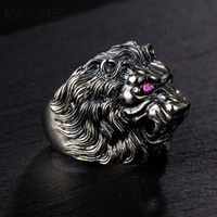 MAYONES Real 925 Sterling Silver Lion King Ring For Men With Red Eyes Inlaid CZ Stone Animal Male Ring Fine Jewelry