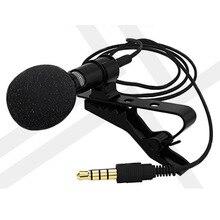 Mini microfone de lapela com fio, portátil, microfone lavalier, conector de 3.5mm, mãos livres, condensador, para iphone, samsung, xiaomi laptop portátil
