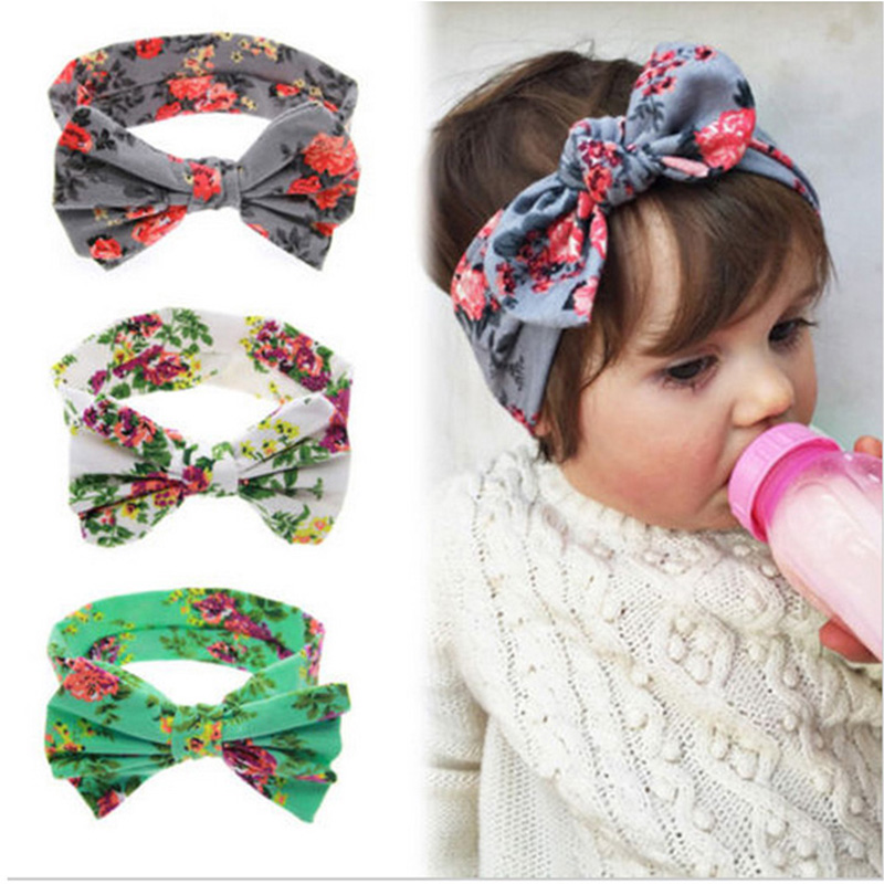 Newborn Printing Hair Girl Headdress Baby Flower Headband Hair Band Hair Accessories Knot Headwear Photographic Props w-206