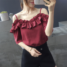 shintimes Chiffon Blouse Short Sleeve Summer Fashion 2019 Ruffles Womens Tops And Blouses Off Shoulder Top Women Shirts Clothes