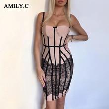 Aile. c seksi yaz kemerli elbise kadın Vestido 2020 yeni Bodycon dantel spagetti elbise elbise Midi ünlü pist parti elbise