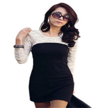 New Vestidos Women Sexy Lace Long Sleeve Bodycon Slim Mini font b Dress b font Splice
