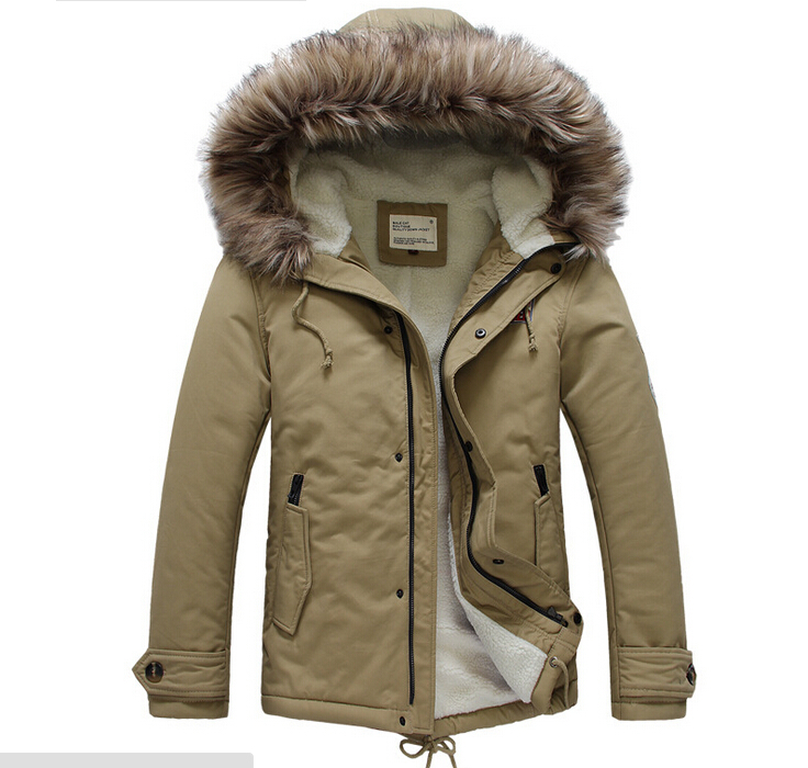 Online Shop Winter Casual Canada Mens fur collar coat army green ...