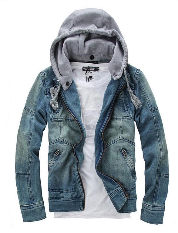 Men Jacket Large size denim jacket coat Korean Slim cotton hooded jacket removable Hat