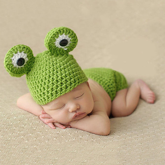 a3fe2a7e5 Cute Newborn Baby Girls Boys Frog Crochet Knit Costume Beanie Hats Cap Baby  Gift Photo Photography Prop -in Hats & Caps from Mother & Kids on  Aliexpress.com ...