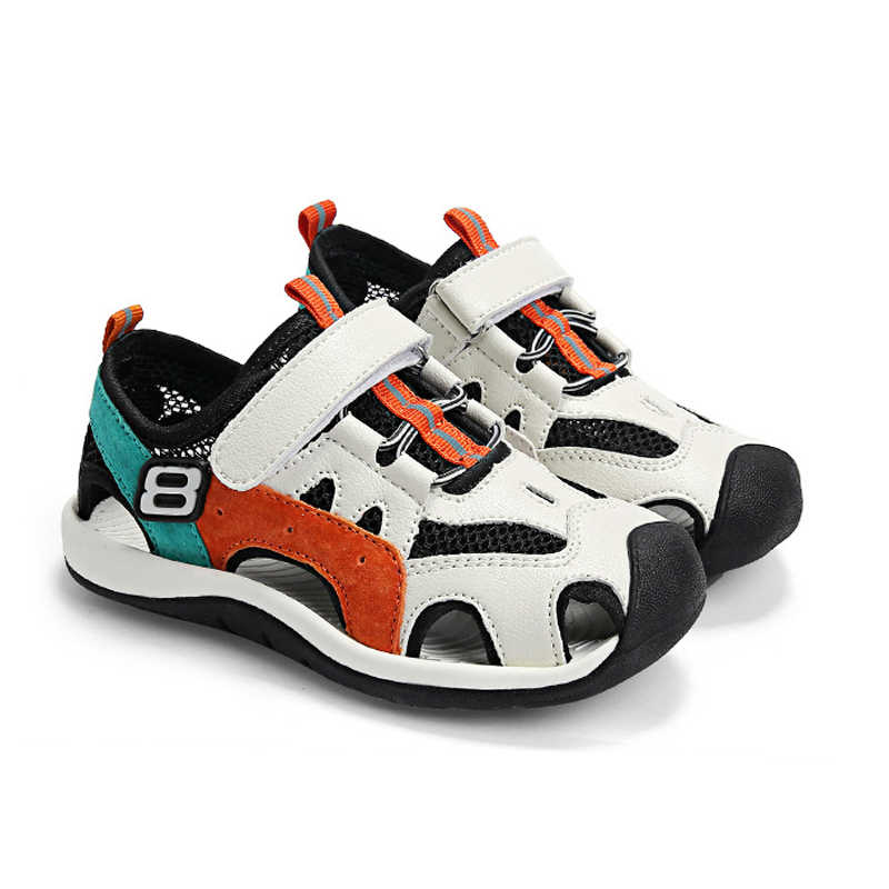 Jungen Sommer Casual Sandalen Closed Toe PU Leder Strand Schuhe Quick-dry Mesh Sport Schuhe Weiches Outsole Size26-38 Mode turnschuhe